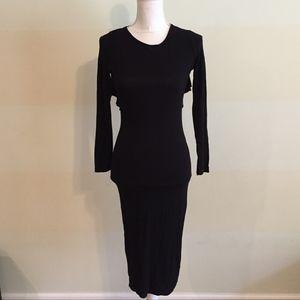 ASOS black long sleeve T back midi dress